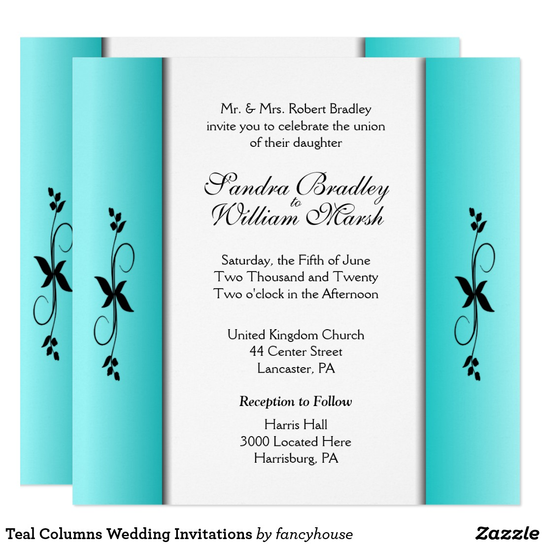 Teal Columns Wedding Invitations