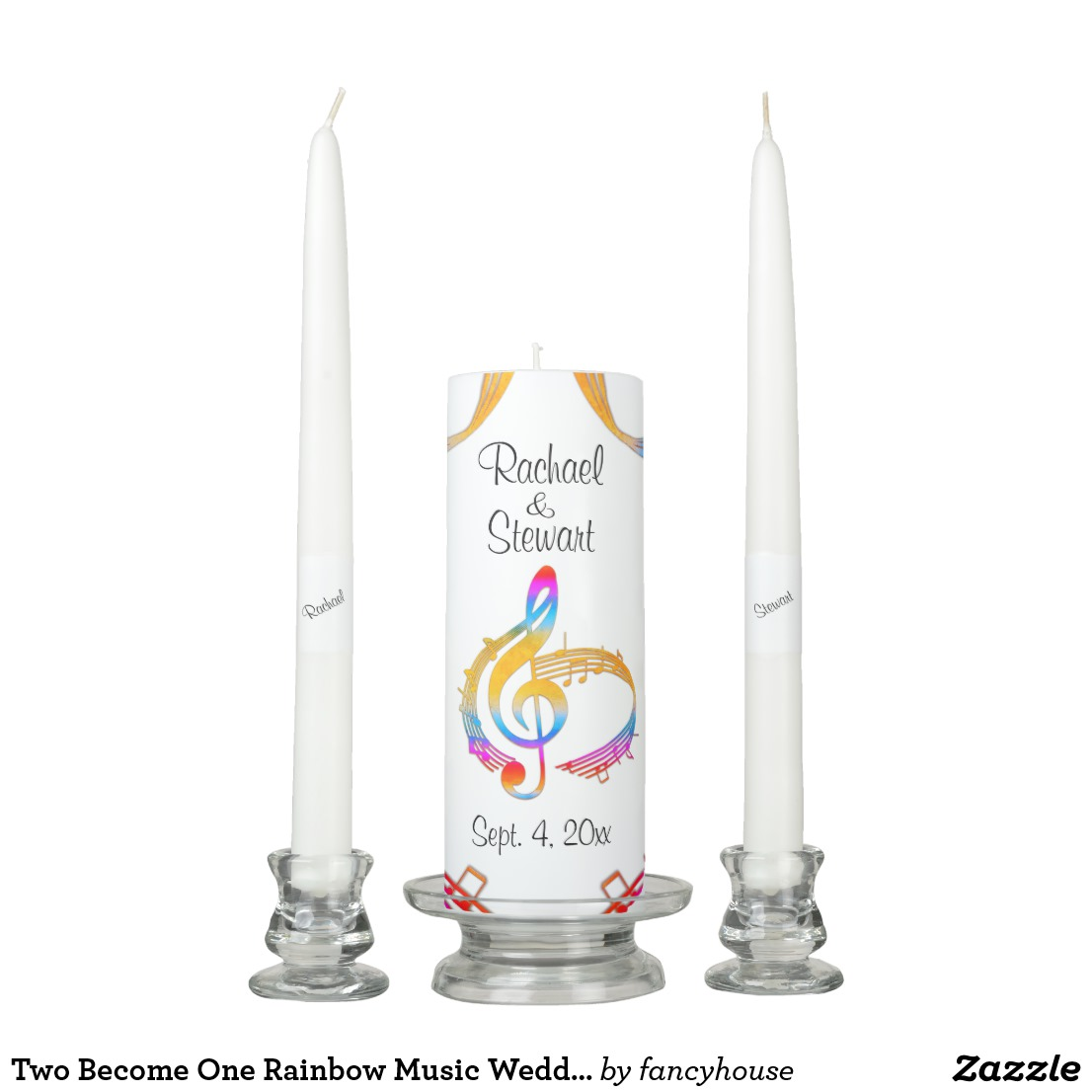 Two Become One Rainbow Music Wedding Unity Candle Set