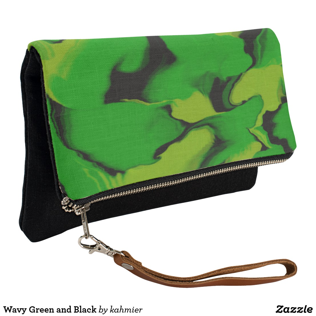 Wavy Green and Black Clutch