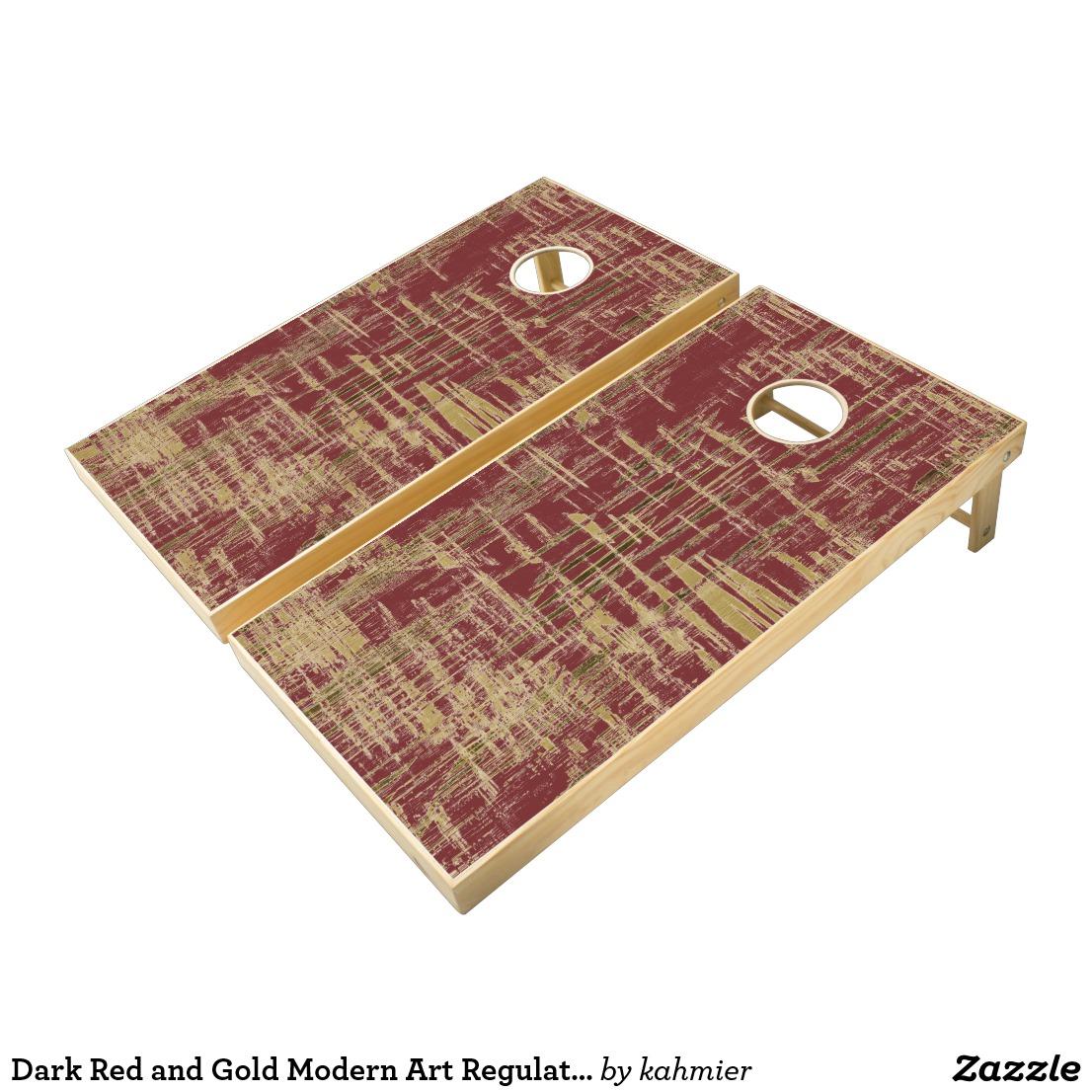 Dark Red and Gold Modern Art Regulation Cornhole Set