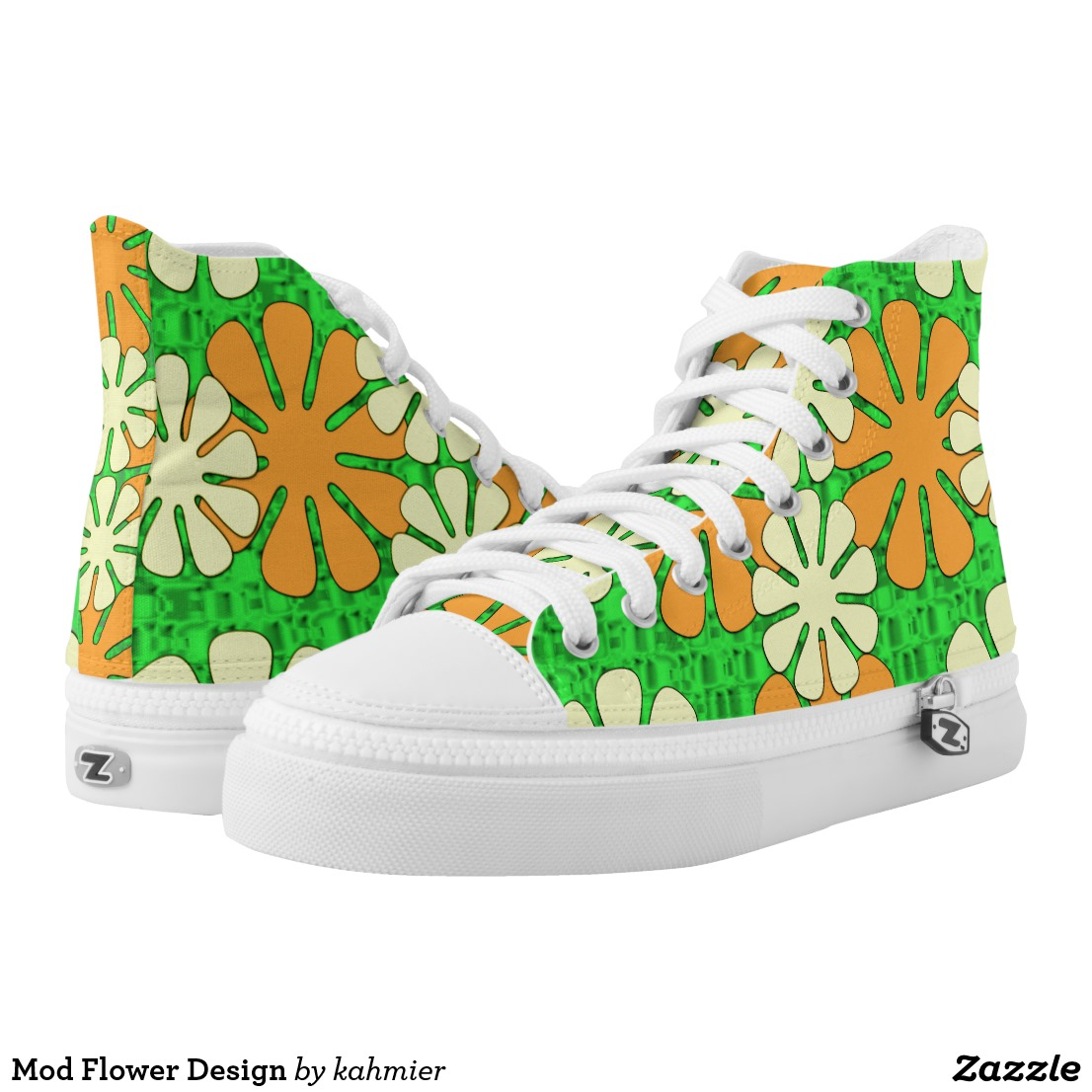 Mod Flower Design High-Top Sneakers