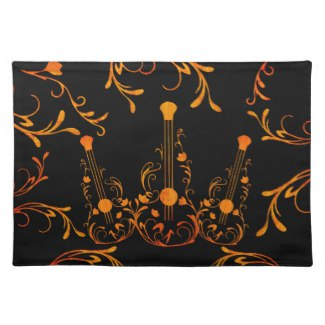 Scrolled Wood Guitar Cloth Placemat
