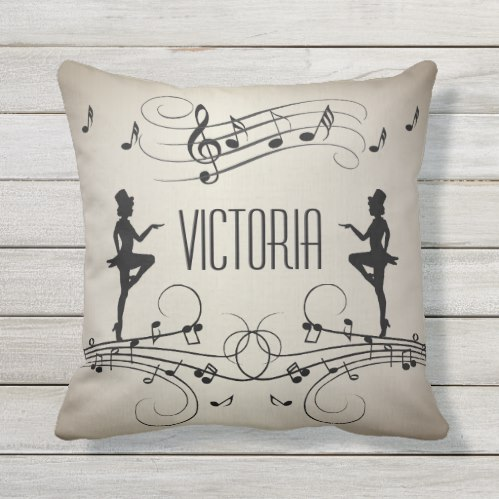 Dancers and Music Personal Name Outdoor Pillow