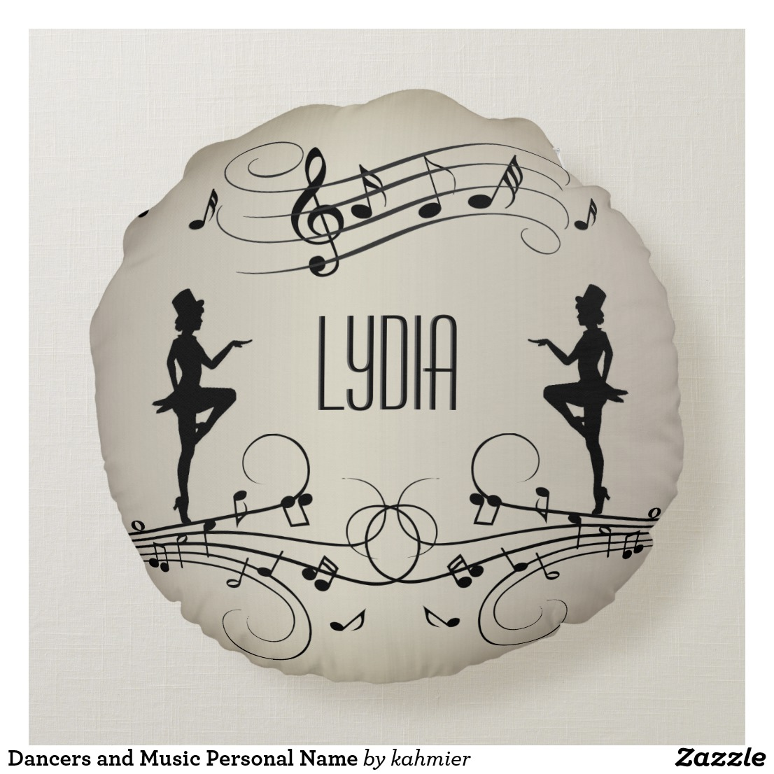 Dancers and Music Personal Name Round Pillow