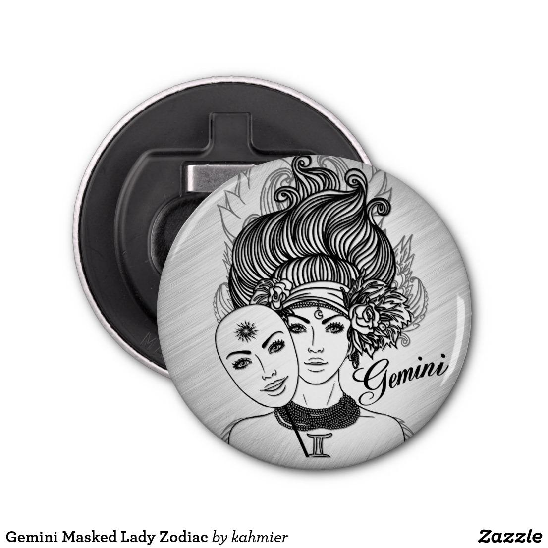 Gemini Masked Lady Zodiac Bottle Opener