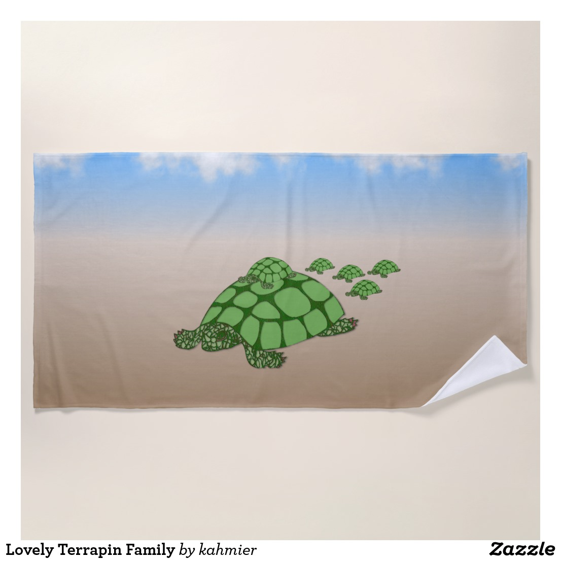 Lovely Terrapin Family Beach Towel