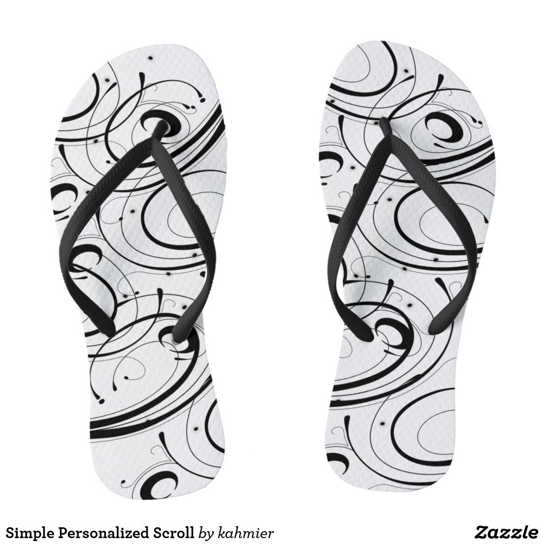 Simple Personalized Scroll Flip Flops