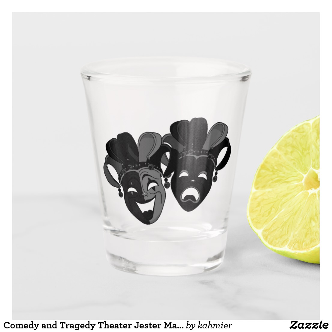 Comedy and Tragedy Theater Jester Masks Shot Glass