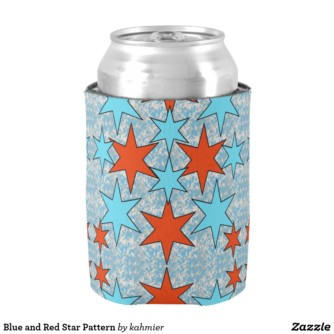 Blue and Red Star Pattern Can Cooler