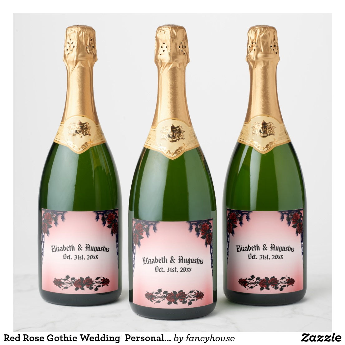 Red Rose Gothic Wedding Personalized Champagne Champagne Label