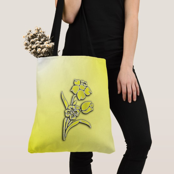 Yellow Flower Daffodil Tote Bag