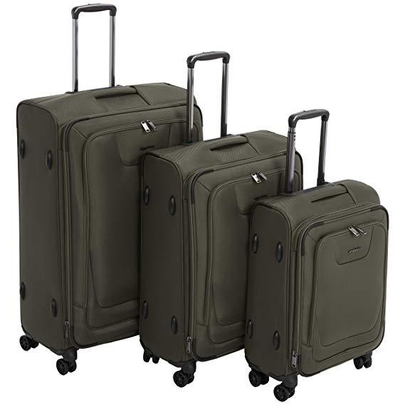 AmazonBasics 3 Piece Expandable Softside Spinner Luggage Suitcase With TSA Lock And Wheels Set - Olive