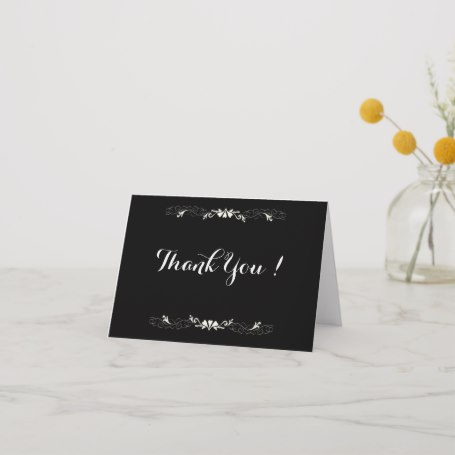 Black and White Blank Inside Thank You Card