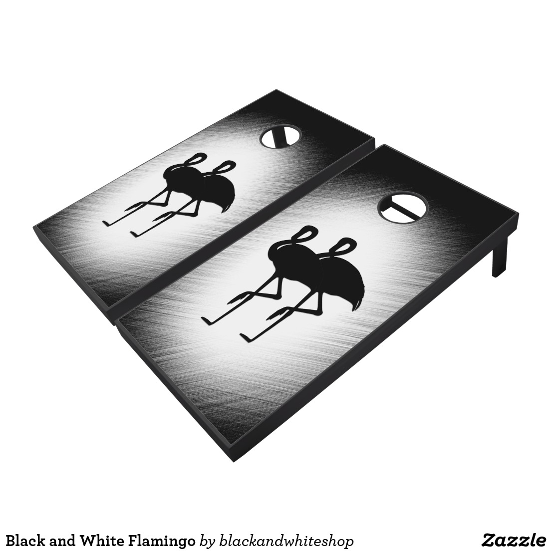 Black and White Flamingo Cornhole Set