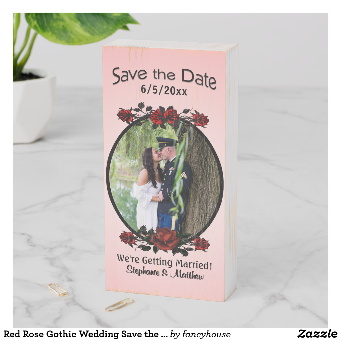 Red Rose Gothic Wedding Save the Date Wooden Box Sign