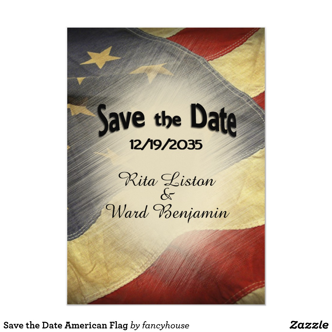 Save the Date American Flag Magnetic Invitation