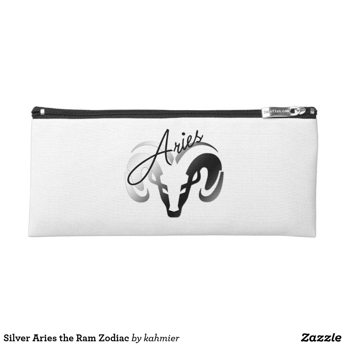 Silver Aries the Ram Zodiac Pencil Case