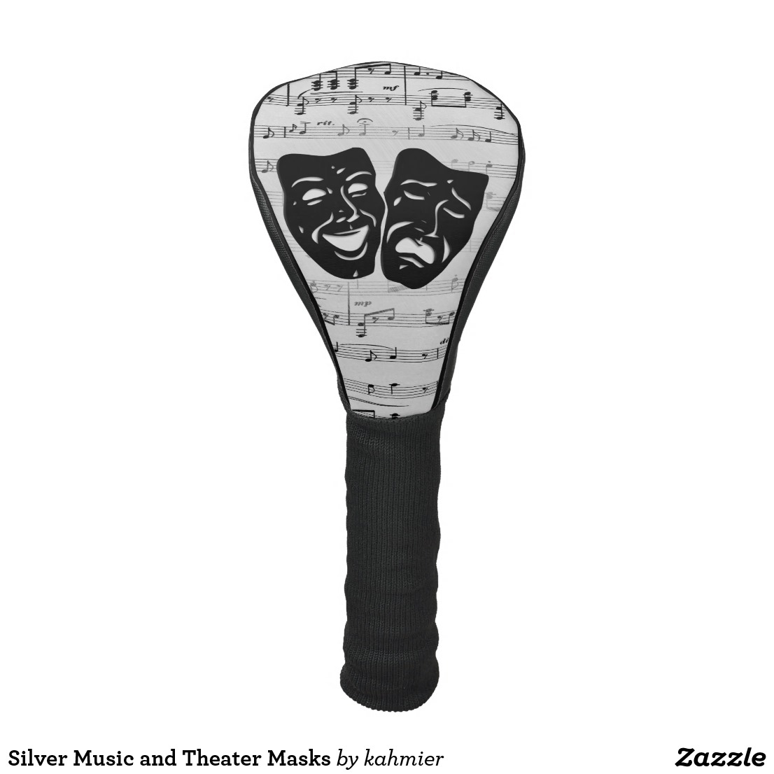 Silver Music and Theater Masks Golf Head Cover