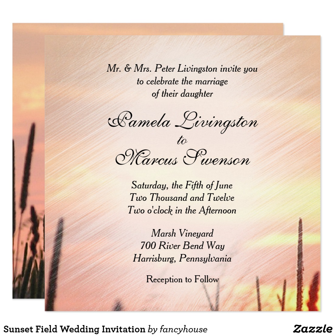 Sunset Field Wedding Invitation