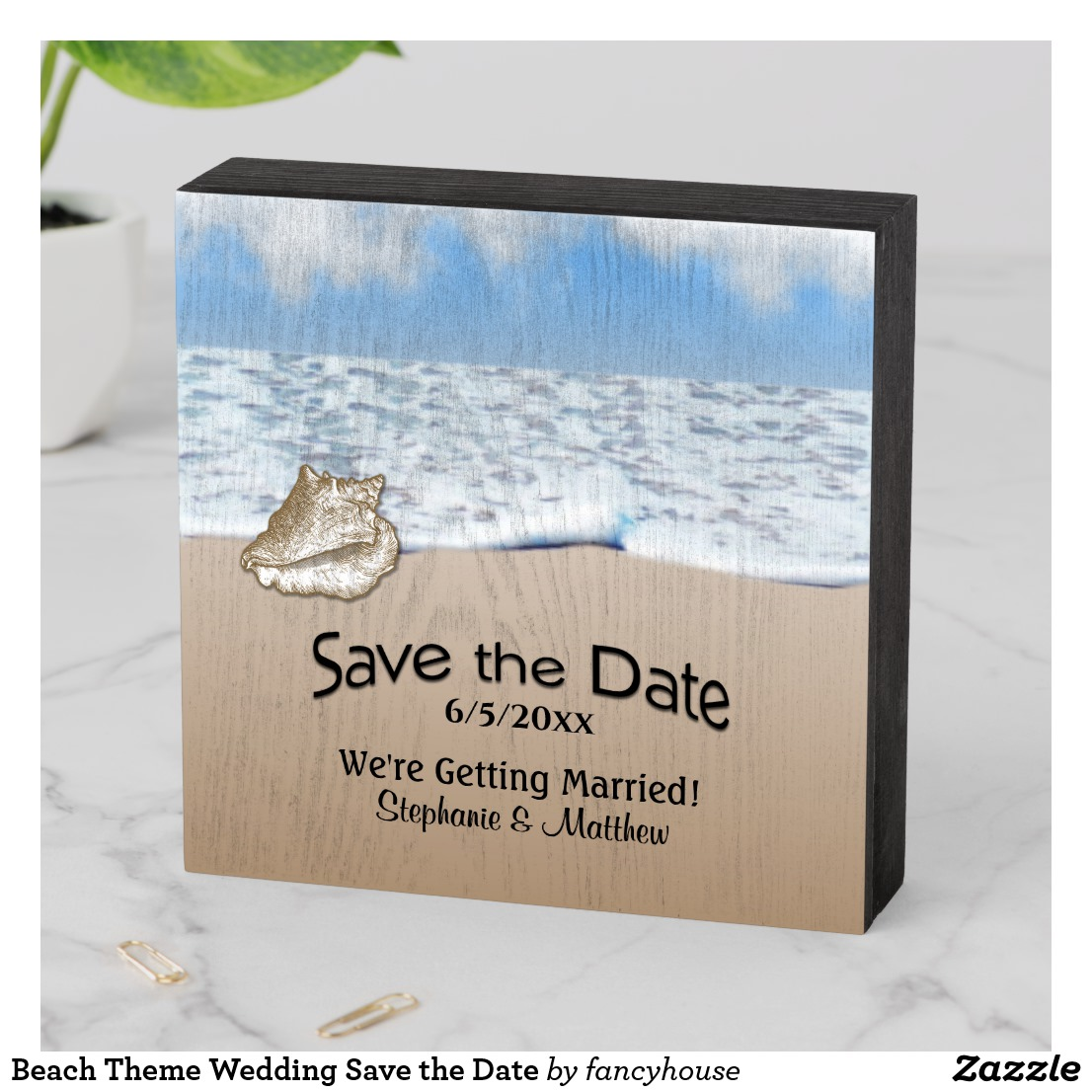 Beach Theme Wedding Save the Date Wooden Box Sign
