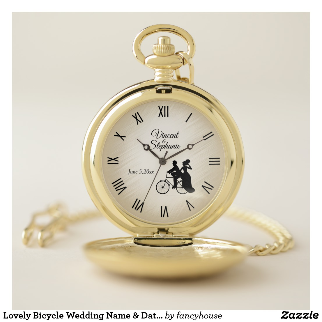Lovely Bicycle Wedding Name & Date Roman Numerals Pocket Watch