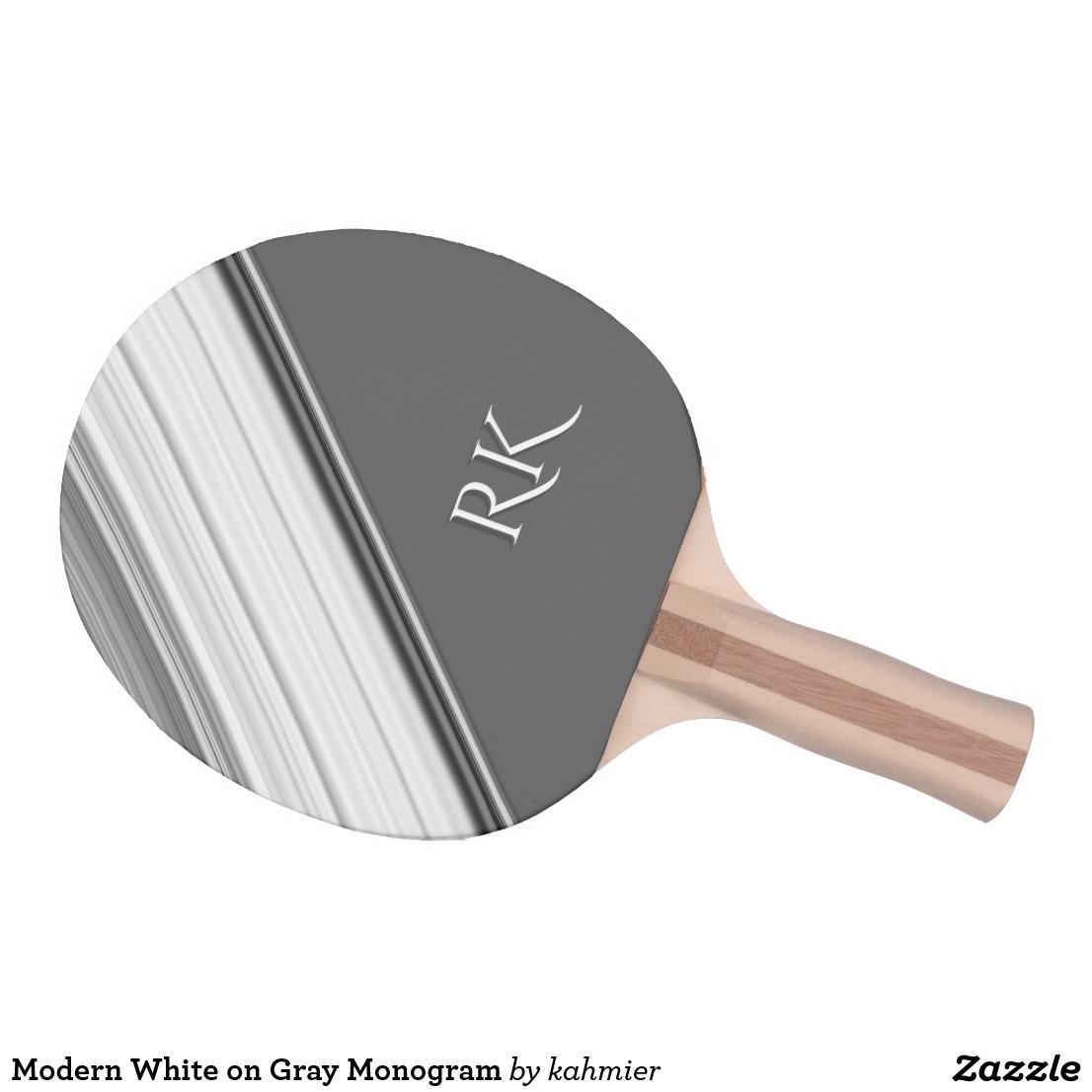 Modern White on Gray Monogram Ping Pong Paddle