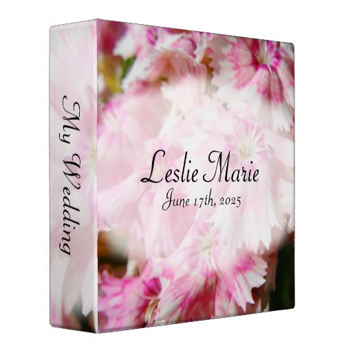 Pink Flower My Wedding 3 Ring Binder