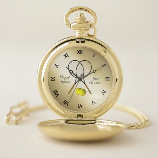 Tennis Wedding Name & Date with Roman Numerals Pocket Watch