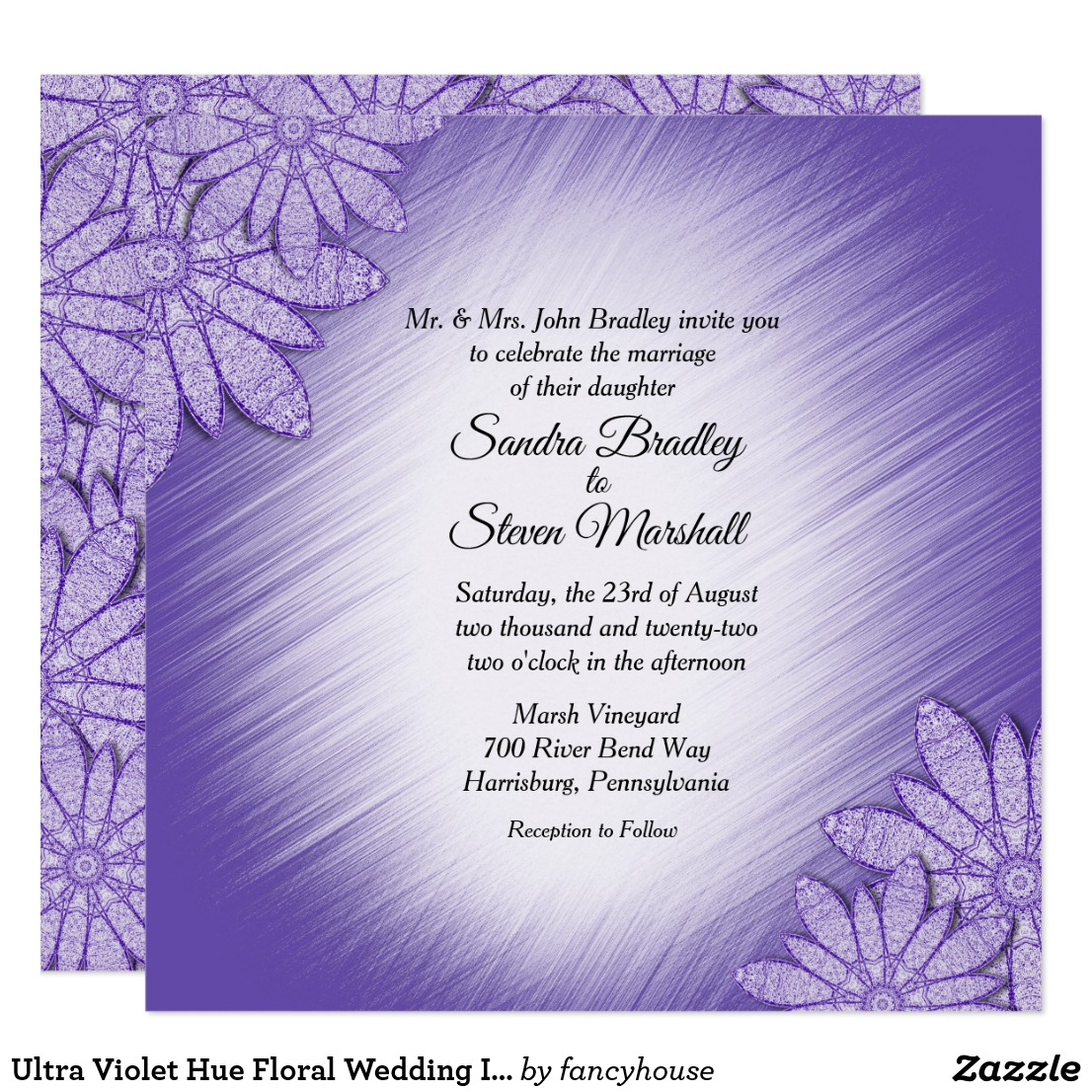 Ultra Violet Hue Floral Wedding Invitation