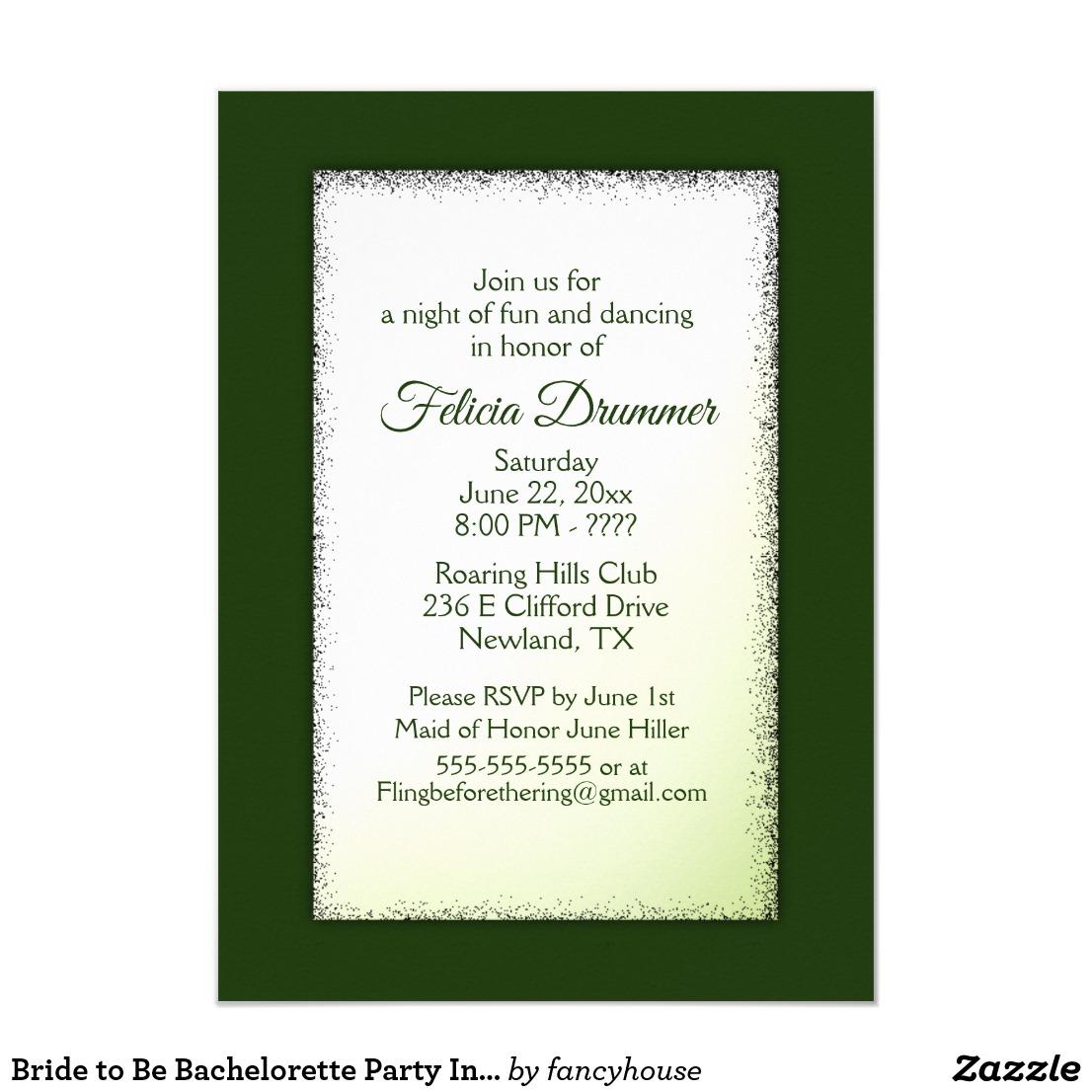 Bride to Be Bachelorette Party Invitation