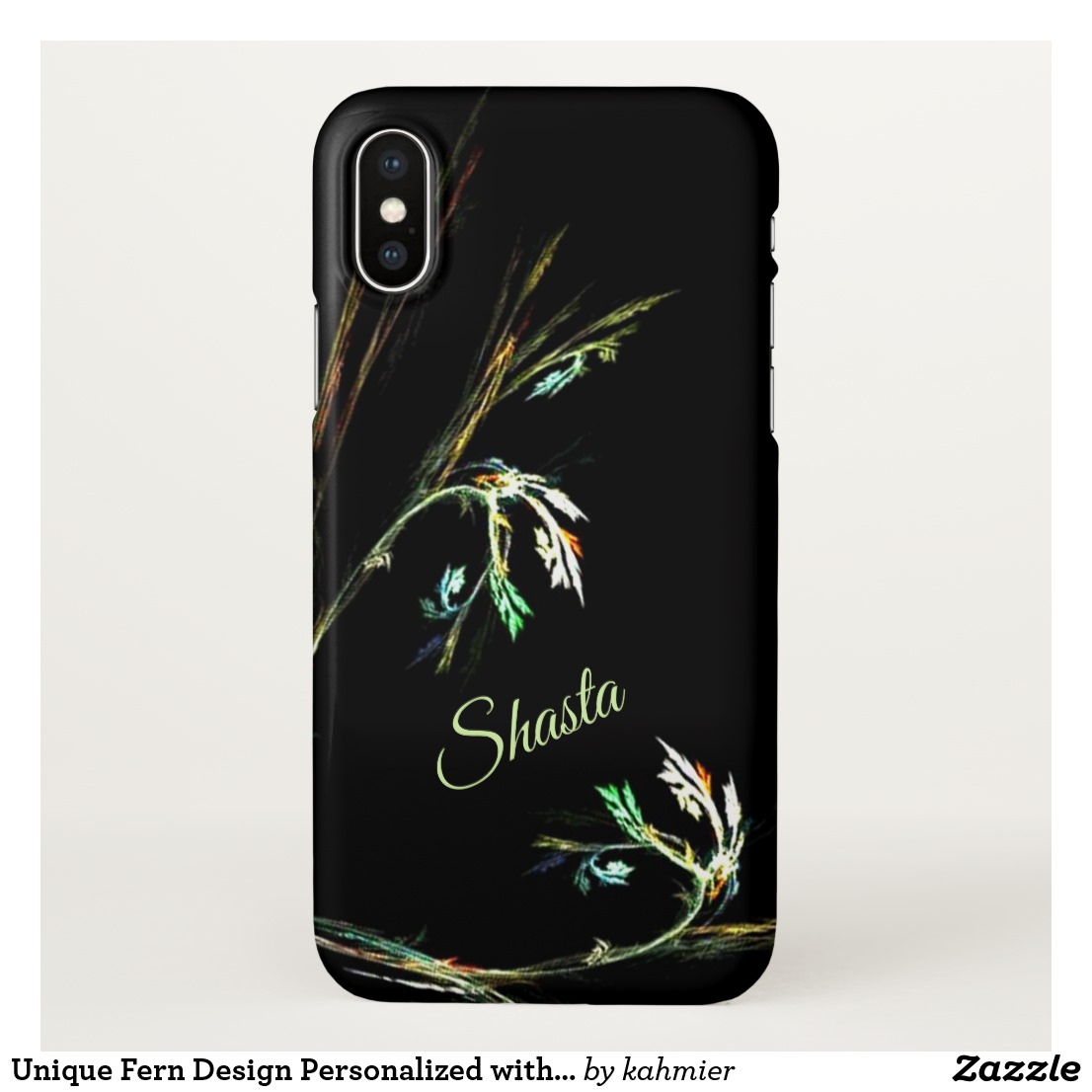 Unique Fern Design Personalized with Name iPhone Case