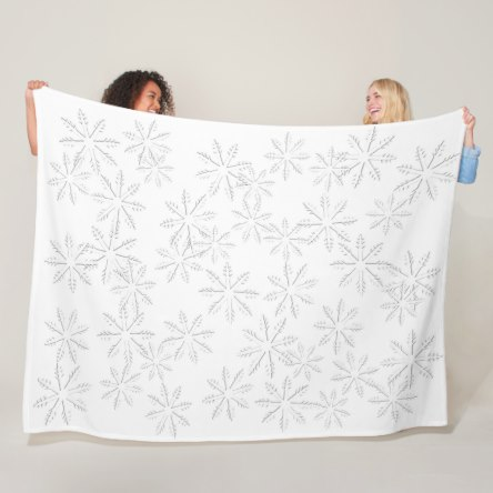 Snowflakes White Fleece Blanket