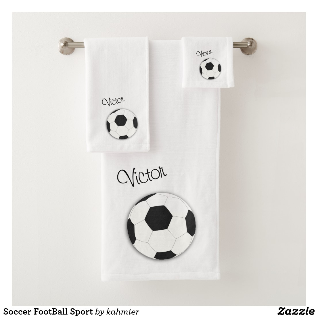 Soccer FootBall Sport Bath Towel Set