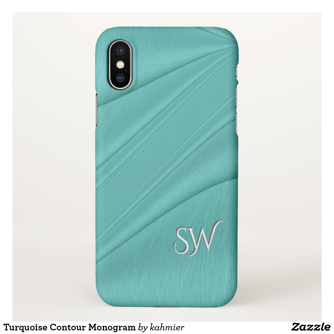 Turquoise Contour Monogram iPhone Case