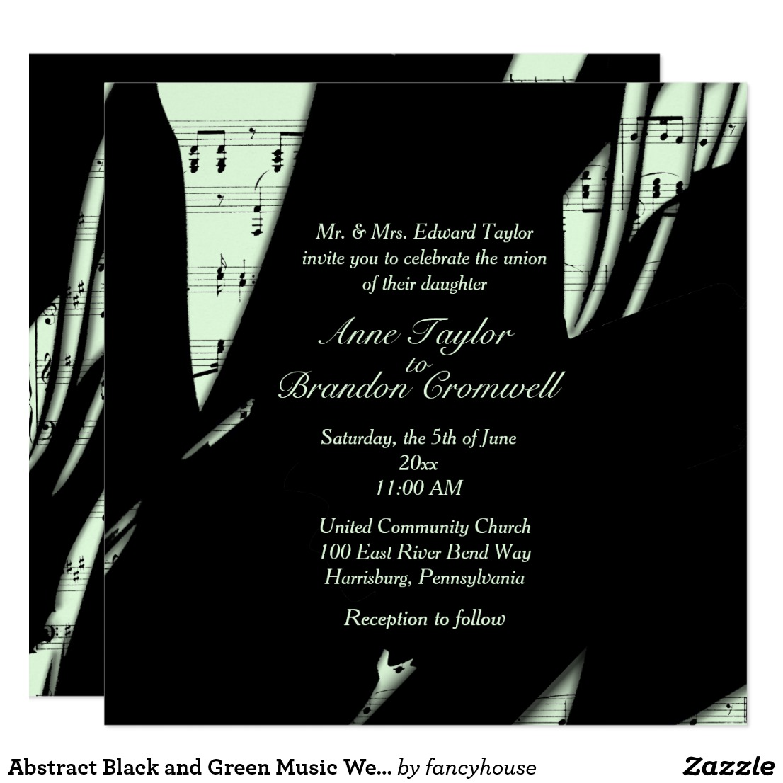 Abstract Black and Green Music Wedding Invitation