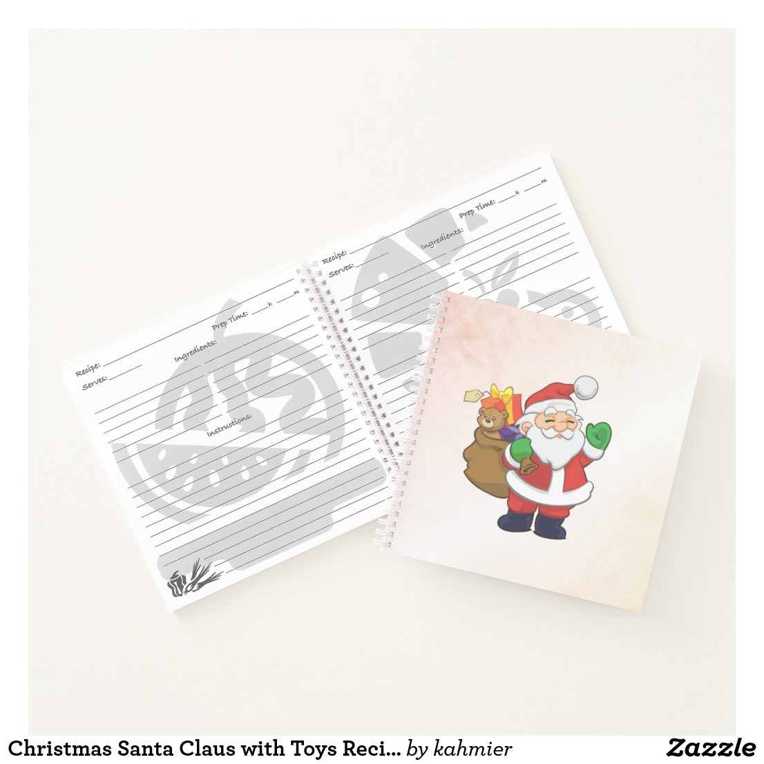 Christmas Santa Claus with Toys Recipe Notebook