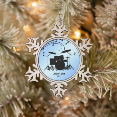 Drums Blue Personal Name and Date Snowflake Pewter Christmas Ornament