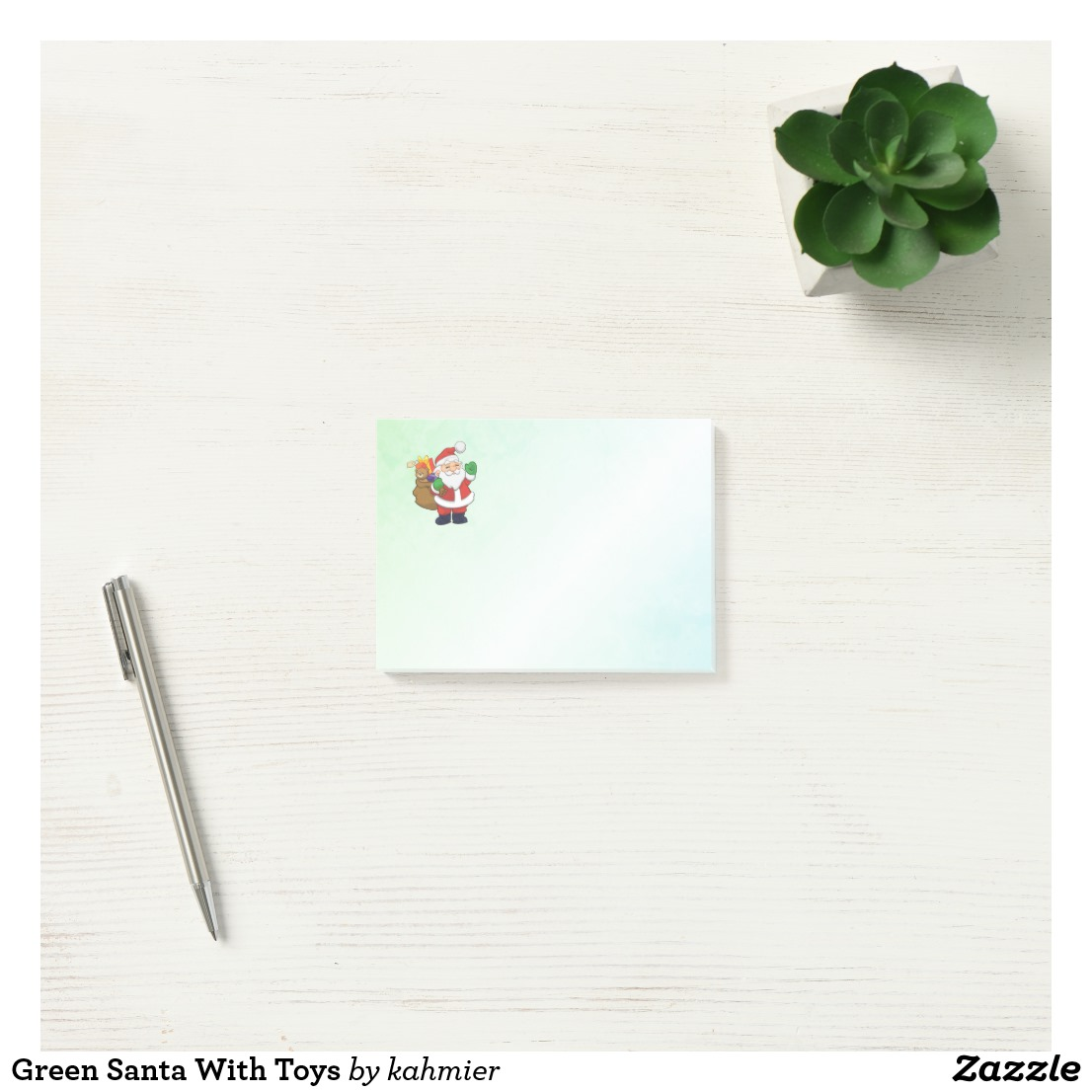 Green Santa With Toys Post-it Notes