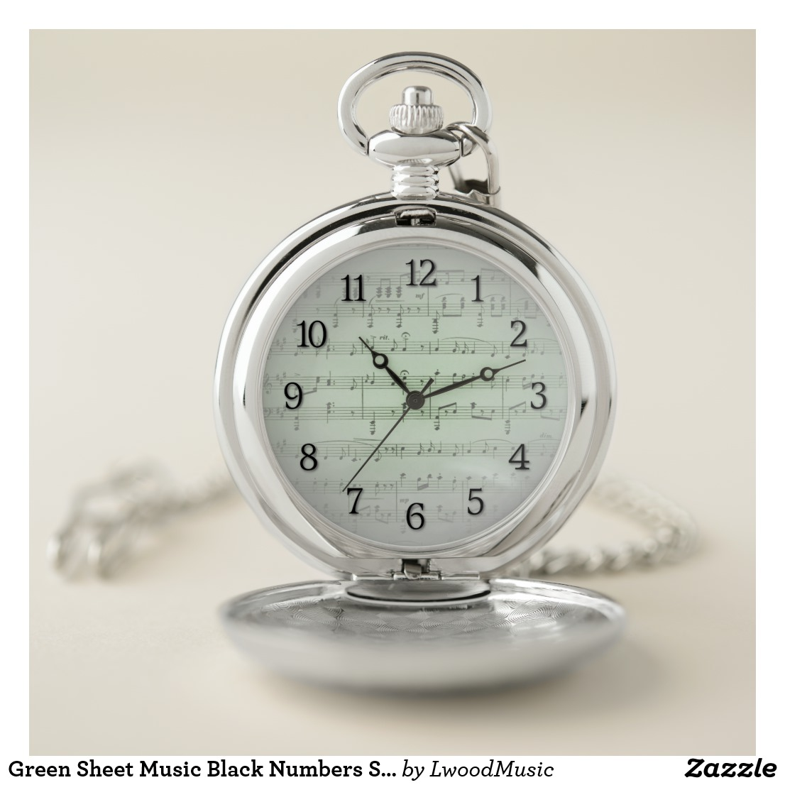 Green Sheet Music Black Numbers Silver Pocket Watch