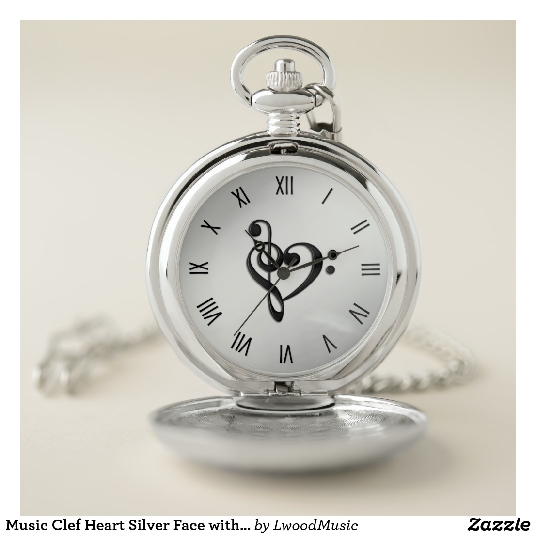 Music Clef Heart Silver Face with Roman Numerals Pocket Watch
