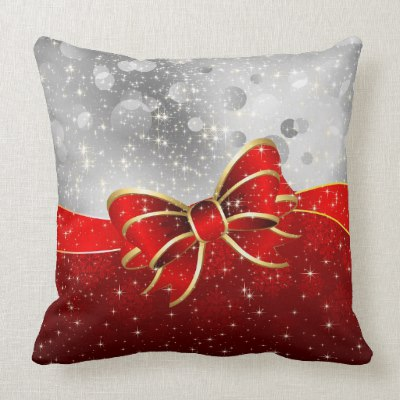 Silver Glitter And Red Christmas Sparkles Bow Throw Pillow