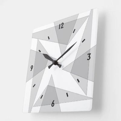 Gray Geometric Wall Clock