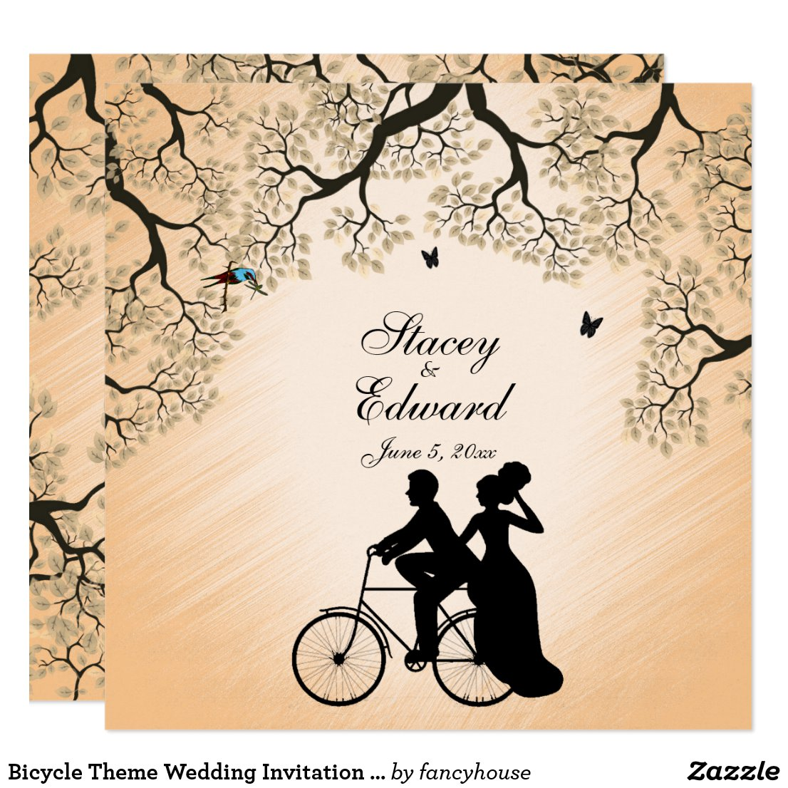 Bicycle Theme Wedding Invitation Peach