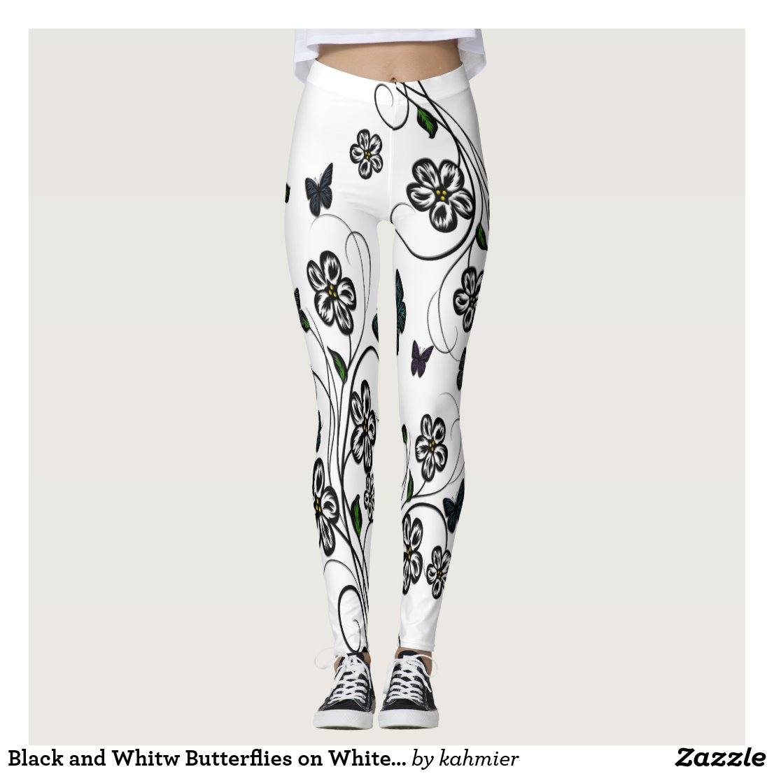 Colorful Butterflies on White Flowers Leggings