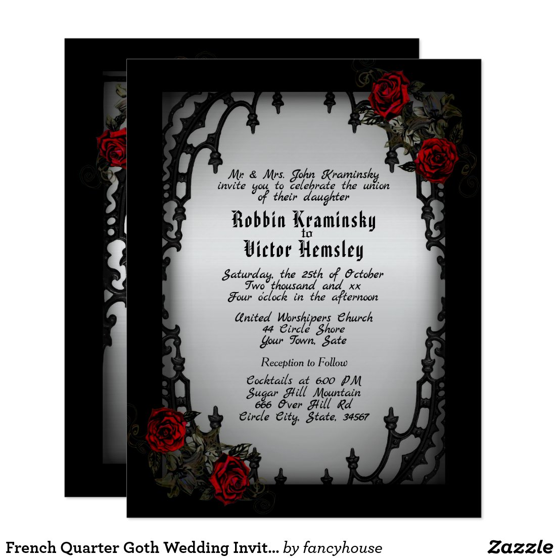 French Quarter Goth Wedding Invitation
