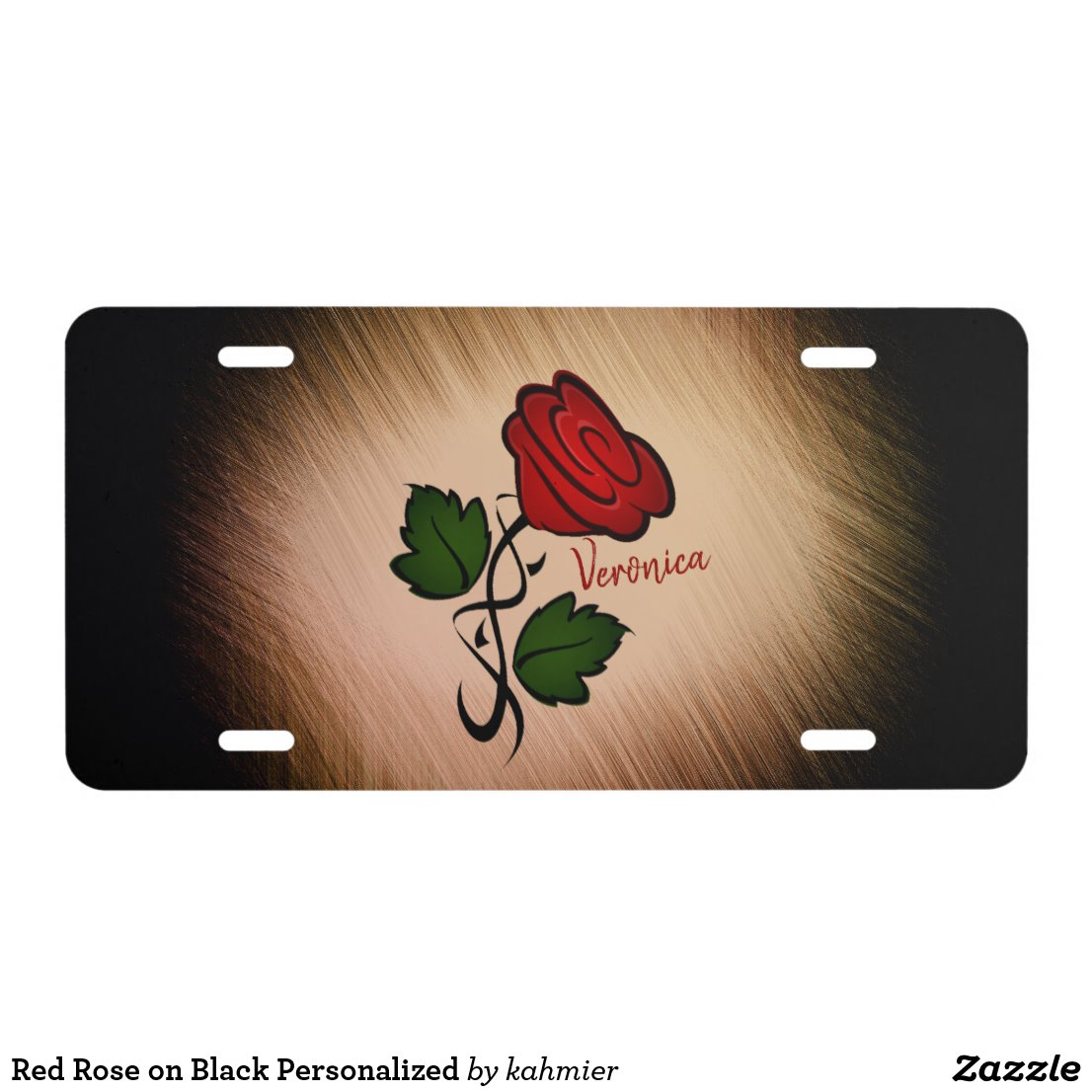 Red Rose on Black Personalized License Plate