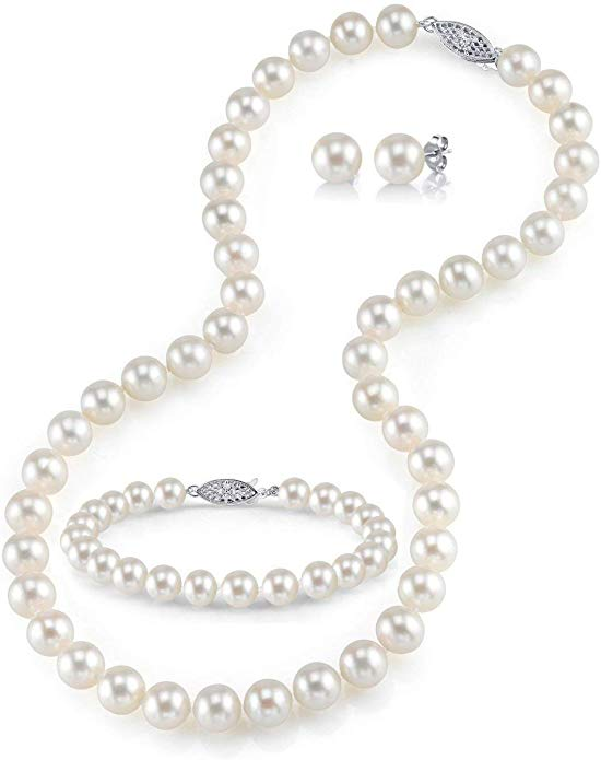 9-10mm Freshwater Cultured Pearl Necklace Set for Women Includes Bracelet and Stud Earrings with 14K Gold - THE PEARL SOURCE