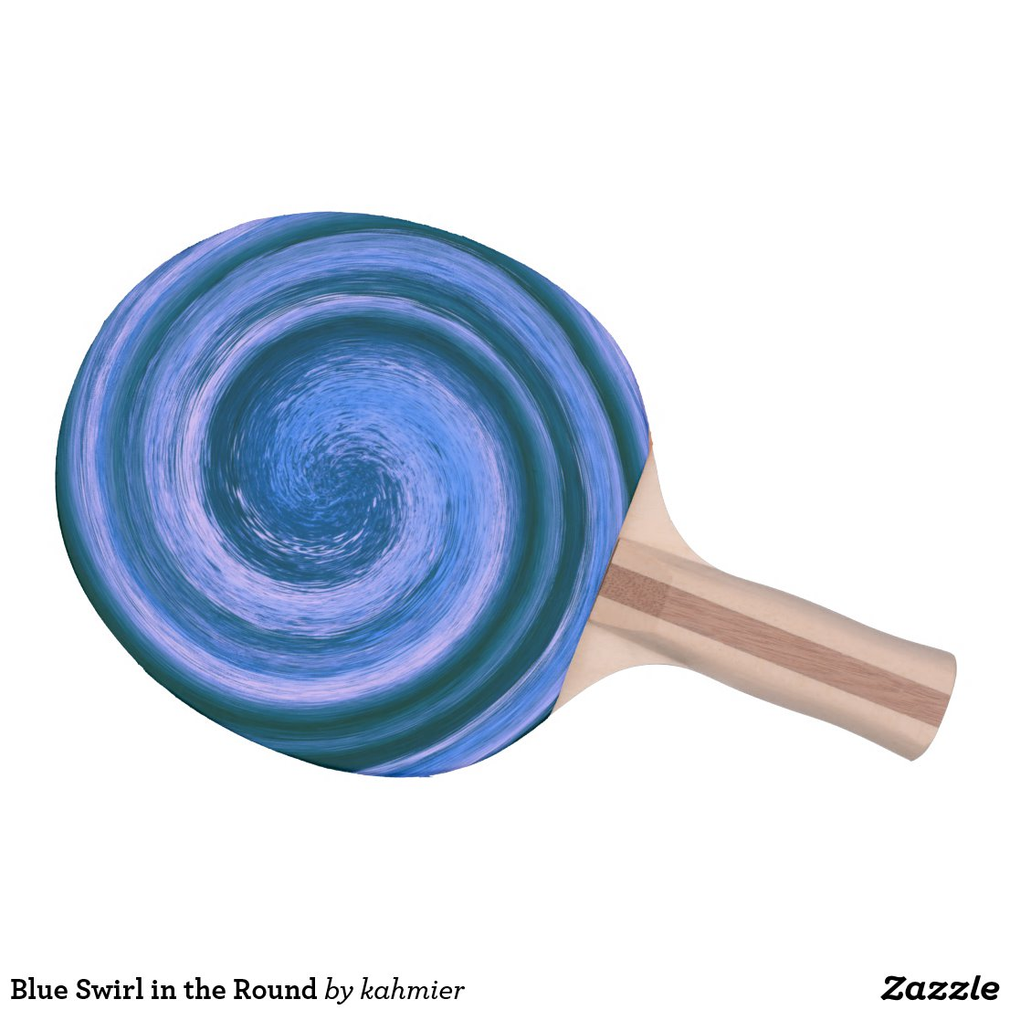 Blue Swirl in the Round Ping Pong Paddle