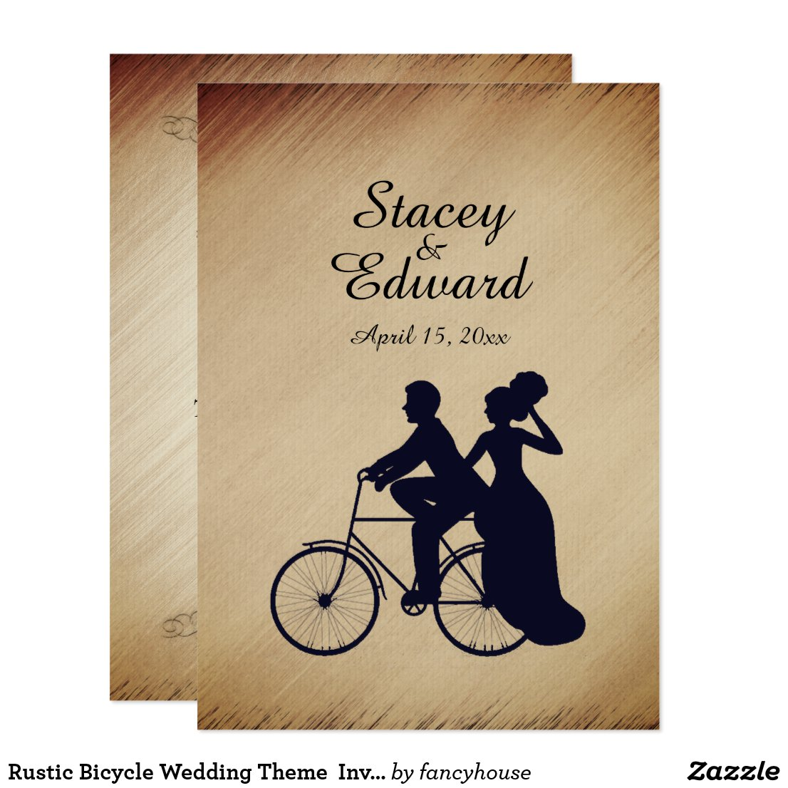 Rustic Bicycle Wedding Theme Invitation