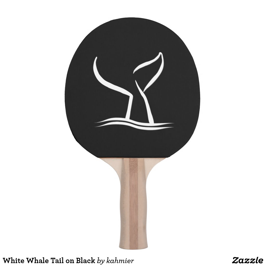 White Whale Tail on Black Ping Pong Paddle